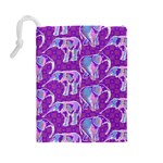 Cute Violet Elephants Pattern Drawstring Pouches (Large)  Back