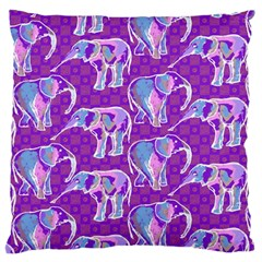 Cute Violet Elephants Pattern Large Flano Cushion Case (two Sides) by DanaeStudio