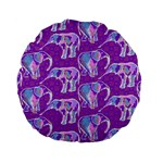 Cute Violet Elephants Pattern Standard 15  Premium Flano Round Cushions Back