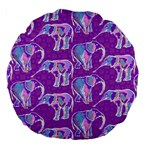 Cute Violet Elephants Pattern Large 18  Premium Flano Round Cushions Back