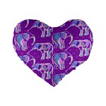 Cute Violet Elephants Pattern Standard 16  Premium Flano Heart Shape Cushions Front