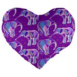 Cute Violet Elephants Pattern Large 19  Premium Flano Heart Shape Cushions Front