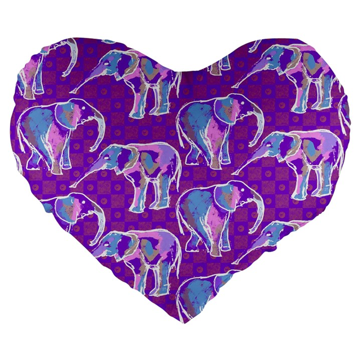 Cute Violet Elephants Pattern Large 19  Premium Flano Heart Shape Cushions