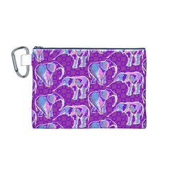 Cute Violet Elephants Pattern Canvas Cosmetic Bag (m) by DanaeStudio