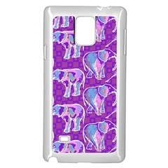 Cute Violet Elephants Pattern Samsung Galaxy Note 4 Case (white) by DanaeStudio
