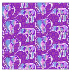 Cute Violet Elephants Pattern Large Satin Scarf (square) by DanaeStudio