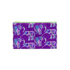 Cute Violet Elephants Pattern Cosmetic Bag (xs) by DanaeStudio