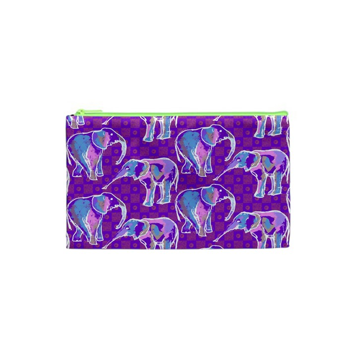 Cute Violet Elephants Pattern Cosmetic Bag (XS)