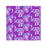 Cute Violet Elephants Pattern Small Satin Scarf (Square)