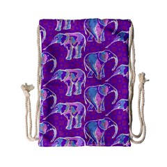 Cute Violet Elephants Pattern Drawstring Bag (small) by DanaeStudio