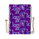 Cute Violet Elephants Pattern Drawstring Bag (Small)