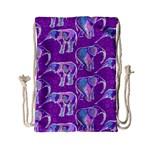 Cute Violet Elephants Pattern Drawstring Bag (Small) Back