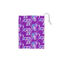 Cute Violet Elephants Pattern Drawstring Pouches (xs)  by DanaeStudio