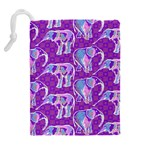 Cute Violet Elephants Pattern Drawstring Pouches (Extra Large) Back