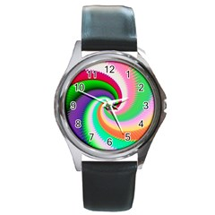 Colorful Spiral Dragon Scales   Round Metal Watch