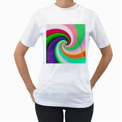Colorful Spiral Dragon Scales   Women s T Shirt (white) (two Sided) by designworld65