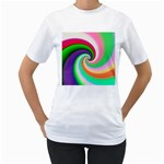 Colorful Spiral Dragon Scales   Women s T-Shirt (White) (Two Sided)