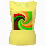 Colorful Spiral Dragon Scales   Women s Yellow Tank Top Front