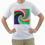Colorful Spiral Dragon Scales   Men s T-Shirt (White) (Two Sided)