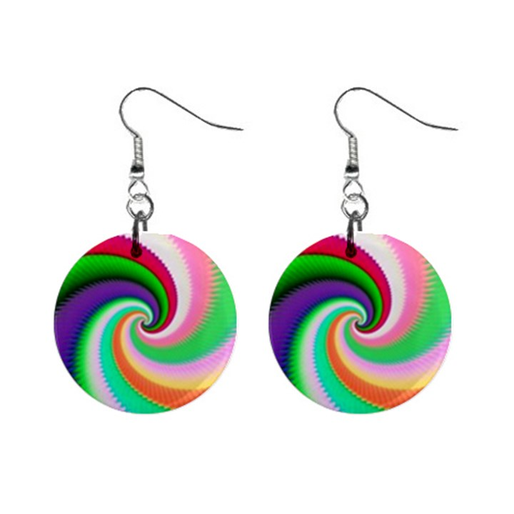 Colorful Spiral Dragon Scales   Mini Button Earrings