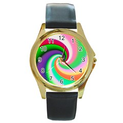 Colorful Spiral Dragon Scales   Round Gold Metal Watch