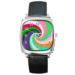 Colorful Spiral Dragon Scales   Square Metal Watch by designworld65