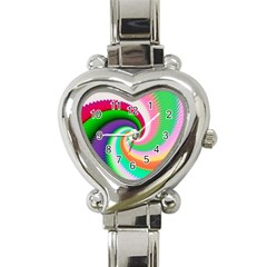 Colorful Spiral Dragon Scales   Heart Italian Charm Watch