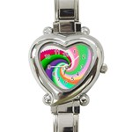 Colorful Spiral Dragon Scales   Heart Italian Charm Watch Front