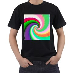 Colorful Spiral Dragon Scales   Men s T Shirt (black) (two Sided) by designworld65