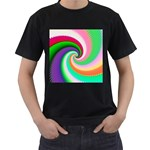 Colorful Spiral Dragon Scales   Men s T-Shirt (Black) (Two Sided)