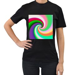 Colorful Spiral Dragon Scales   Women s T Shirt (black) (two Sided) by designworld65