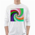 Colorful Spiral Dragon Scales   White Long Sleeve T-Shirts