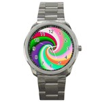 Colorful Spiral Dragon Scales   Sport Metal Watch
