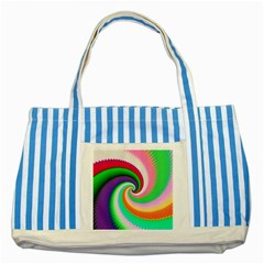 Colorful Spiral Dragon Scales   Striped Blue Tote Bag by designworld65