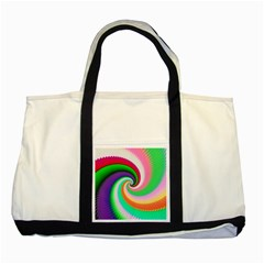 Colorful Spiral Dragon Scales   Two Tone Tote Bag by designworld65