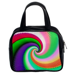 Colorful Spiral Dragon Scales   Classic Handbags (2 Sides) by designworld65