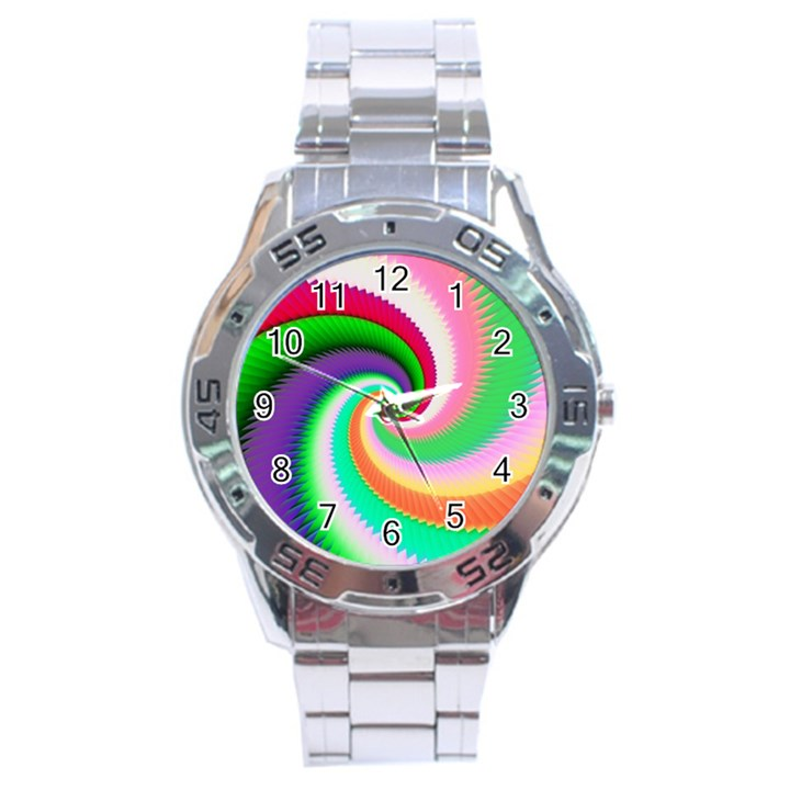 Colorful Spiral Dragon Scales   Stainless Steel Analogue Watch