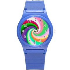 Colorful Spiral Dragon Scales   Round Plastic Sport Watch (s) by designworld65