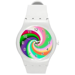 Colorful Spiral Dragon Scales   Round Plastic Sport Watch (m) by designworld65