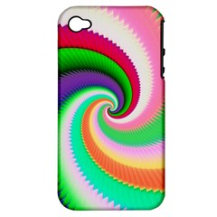 Colorful Spiral Dragon Scales   Apple Iphone 4/4s Hardshell Case (pc+silicone) by designworld65