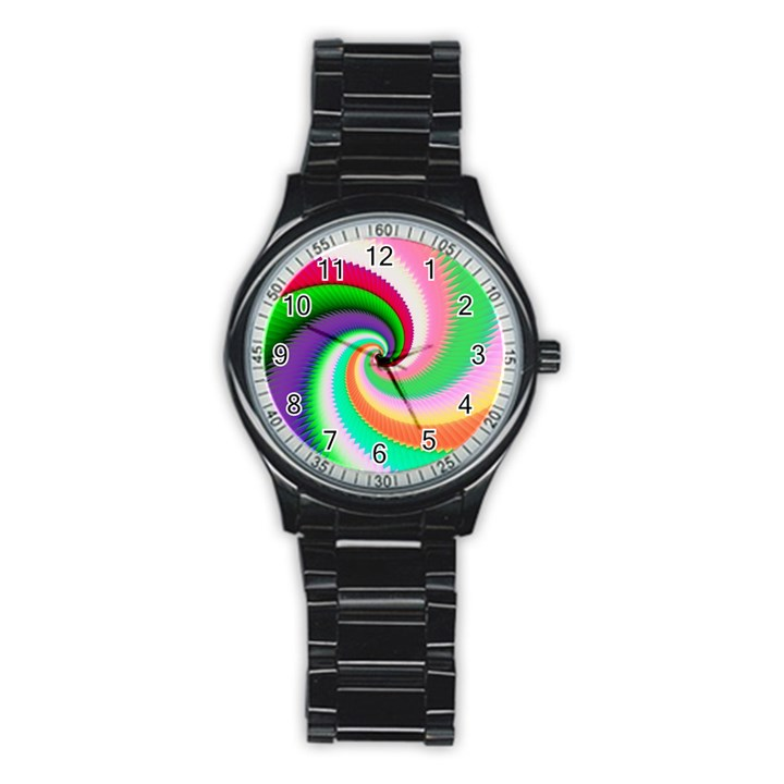 Colorful Spiral Dragon Scales   Stainless Steel Round Watch