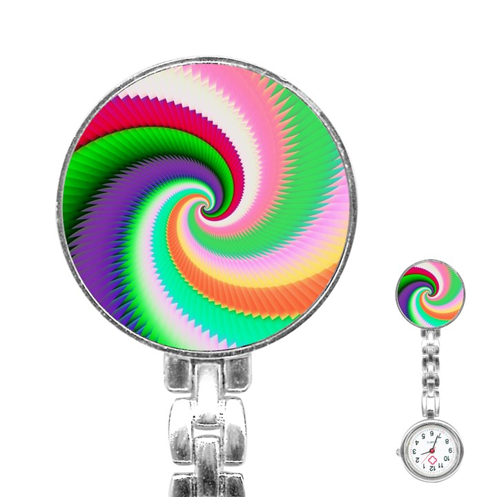 Colorful Spiral Dragon Scales   Stainless Steel Nurses Watch