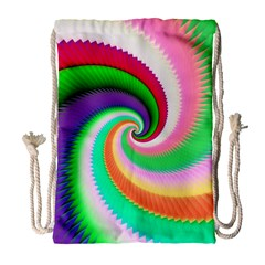 Colorful Spiral Dragon Scales   Drawstring Bag (large) by designworld65