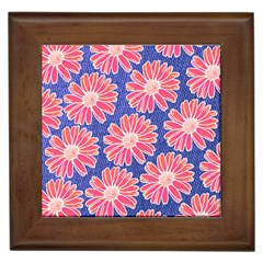 Pink Daisy Pattern Framed Tiles by DanaeStudio