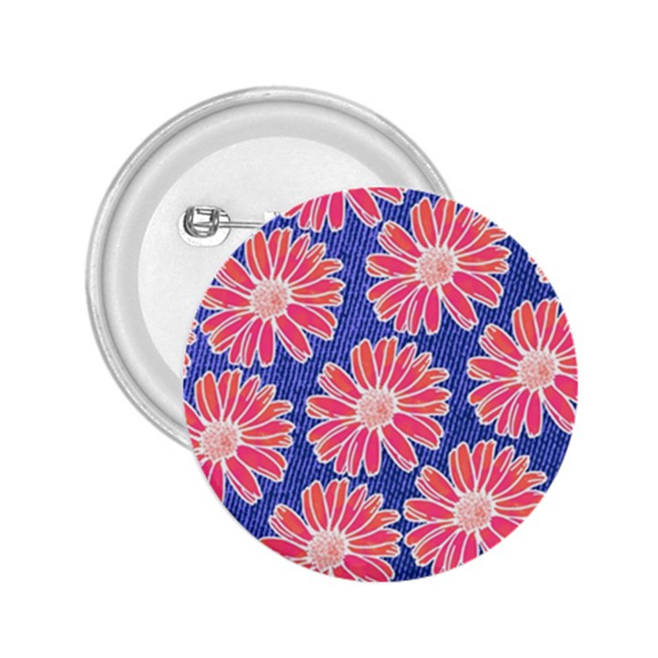 Pink Daisy Pattern 2.25  Buttons