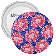 Pink Daisy Pattern 3  Buttons by DanaeStudio