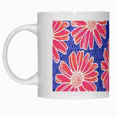Pink Daisy Pattern White Mugs by DanaeStudio