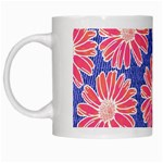 Pink Daisy Pattern White Mugs Left