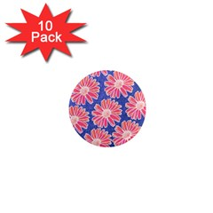 Pink Daisy Pattern 1  Mini Magnet (10 Pack)  by DanaeStudio