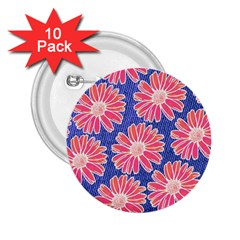 Pink Daisy Pattern 2 25  Buttons (10 Pack)  by DanaeStudio